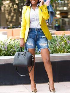Autumn Fashion Button Design Blazer Coat