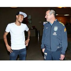 Neymar yesterday with Coach Dunga