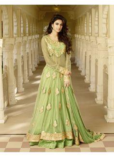 Couleur Vert de Concepteur Pakistanais tussar silk Anarkali Churidar Kameez