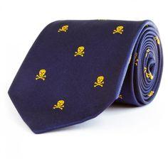Benson & Clegg Skull and Crossbones Tie - Navy & Yellow