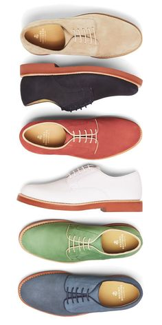 Classic Bucks, Dressed up or down, Brooks Brothers suede bucks in signature red brick soles lend color and dandy appeal to any summer outfit. Me Too Shoes, Men's Shoes, Shoe Boots, Dress Shoes, Shoes Men, Dress Pants, Boat Shoes, Sharp Dressed Man, Well Dressed Men