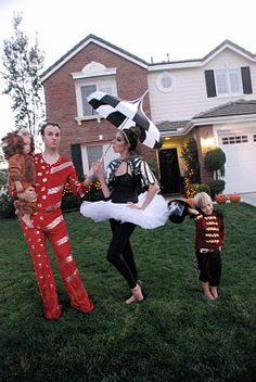 circus family costume lion costume, ring leader costume, tight rope walker costume, russian trapeze artist costume