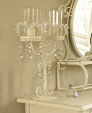 2 arm candle holder wedding pearl crystal centre piece table shabby candelabra