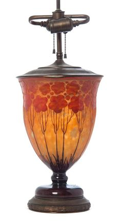 A Le Verre Francais Cameo Glass Lamp Base, of tapering form with cardamine decoration throughout on a mottled ground, etched Le Verre Francais.