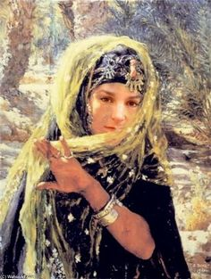 Alphonse Etienne Dinet - Woman with a Veil Painting Collage, Figure Painting, 20th Century Painters, Arabian Costume, Beaux Arts Paris, Africa Art, Historical Art, Realistic Paintings, Old Master