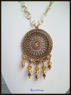 Antique Brass Pendant hand Embellished Swarovski and Czech Crystals | specialtivity - Jewelry on ArtFire