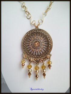 Antique Brass Pendant hand Embellished Swarovski and Czech Crystals | specialtivity - Jewelry on ArtFire