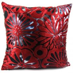 "kilofly Home Decorative Throw Pillow Cover, 18"" x 18"", Blossom Flowers Red over Black"