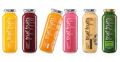 Colorful healthy drinks in the glass bottles. True Fruits Smoothie, Fruit Smoothies, Fruit Drinks, Healthy Drinks, Beverages, Purple Fruit, Orange Fruit, Glass Bottles, Drink Bottles