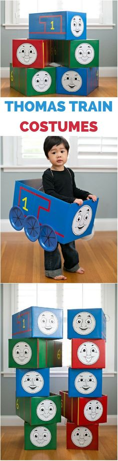 Thomas the Train Costumes. An Easy Tutorial For Making LOTS of Thomas and Friends + 5 Free Printable Faces! (Thomas, Gordon, Percy, Emily, James). So cute for a train party or Halloween costume for kids.