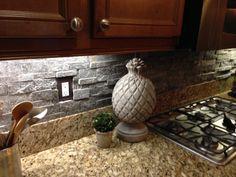 Grey Stone Backsplash Kitchen lady grey brushed stone backsplash   home ideas   pinterest