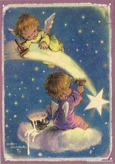 Christmas Card Images, Vintage Christmas Cards, Retro Christmas, Christmas Pictures, Christmas Angels, Christmas Art, Vintage Cards, Vintage Postcards, Angel Illustration