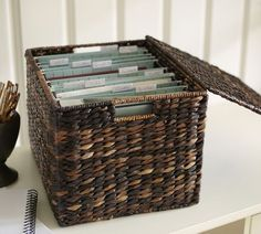How to make a basket into a filing cabinet...maybe and idea for ...
