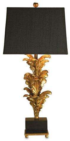 PRODUCT NAME: Renaissance Table Lamp DIMENSIONS: 40h x 18w NUMBER OF LIGHTS: 1 SHADES: Black Linen with Gold Liner MATERIAL: Composite/ Wood...