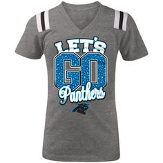 5th   Ocean by New Era Carolina Panthers Youth Girls Gray Go Team Tri-Blend  V-Neck T-Shirt 2a08cfd95