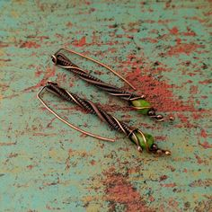 Green Twig Earrings, Door 44 Original, Copper Wire Wrapped Earrings, Copper Stick Threaders, Woven Copper Stick Earrings, Made in Colorado
