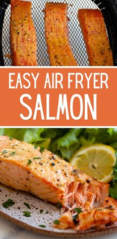 This air fryer salmon is flaky and tender and just a little crispy on the edges, similar to a pan sear. You can cook fresh or frozen salmon in the air fryer and this post shows you how to do both! Salmon Recipes, Seafood Recipes, Appetizer Recipes, Vegetarian Recipes, Dinner Recipes, Healthy Recipes, Paleo Meals, Meal Recipes, Dinner Ideas