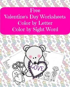 Free Valentine Day Worksheet:  Color by Letter and Color by Sight Word activities for your preschool or kindergarten student.   #education
