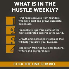 Each week we put together the best content we can find for those on the hustle. We look at growth inspiration  and entrepreneurship to allow you to spend less time looking and more time learning.  Click the link in our bio to sign up now!