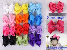 "Wholesale 12 girl baby kids children 5"" boutique big Hair Bows with clips 430B #MyOwnUniqueDesign"