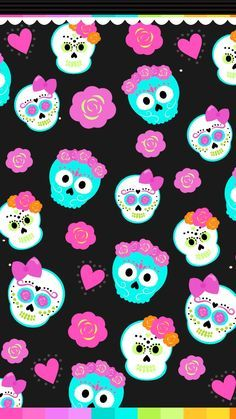 Halloween cute teal & white sugar skulls w/pink & orange headdress. Sugar Skull Wallpaper, Emo Wallpaper, Abstract Iphone Wallpaper, Hello Kitty Wallpaper, Print Wallpaper, Wallpaper Backgrounds, Phone Backgrounds, Halloween Wallpaper Cute, Holiday Wallpaper