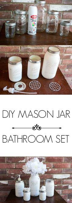 DIY MASON JAR BATHROOM SET PINTEREST #masonjarcrafts #diymasonjar