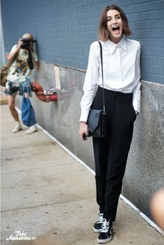 white shirt chic awesomeness. NYC.