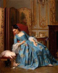 Joseph Caraud Idle Hours painting, oil on canvas & frame; Joseph Caraud Idle Hours is shipped worldwide, 60 days money back guarantee. Woman Painting, Painting & Drawing, Rococo Painting, Beaux Arts Paris, Art Ancien, 18th Century Fashion, 19th Century, Tea Art, Victorian Art