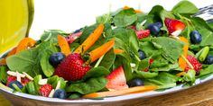 Topped with fresh blueberries and strawberries, and dressed with a tangy homemade vinaigrette, this salad tastes like summertime! Total Time: 10 min. Prep