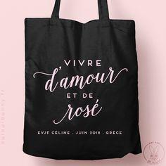 """Tote-Bag """"Vive d'Amour et de Rosé"""" personnalisé Noir - Tote Bags - Oui Oui Bunny : Mariage, PACS, EVJF"""