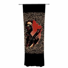 "Barmalisirtb ""War Is Over"" Black Red Decorative Sheer Curtain"