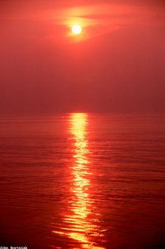Stunning view of the Sun over the sea. Interesting Note: Generally speaking, seven out of ten red sunsets usually indicate good weather in northern climates.