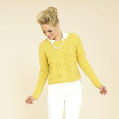 Modern cables in the most fabulous yellow for spring - this colour is called Sunday 349 (from the Sublime extra fine merino double knitting book 666).