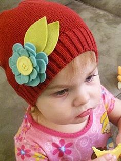 Repurposed Sweater Hat (w/felt flower) and Tutorial.