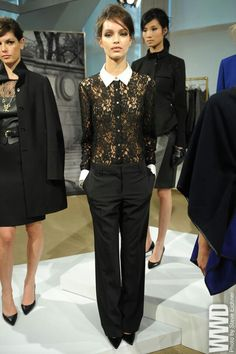 This black lace white collared top can be a staple in my wardrobe,love it! corp goth..Ann Taylor Fall 2013.