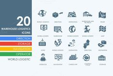 20 warehouse logistics icons. Business Infographic