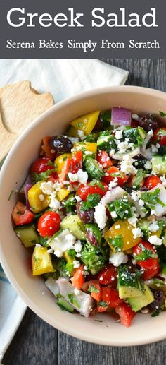 Greek Salad. So good and super simple to make! | www.serenabakessimplyfromscratch.com