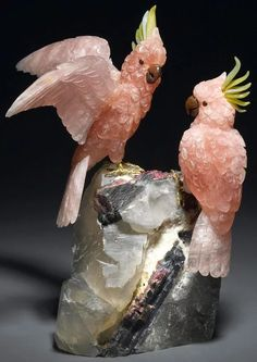 """furrybot-satan: """"ufansius: """"A pair of rose quartz cockatoos with serpentine, carnelian, and rubellite accents, mounted on a watermelon tourmaline-in-matrix base - Peter Mueller """" GEM BIRBS """" WHOA Minerals And Gemstones, Rocks And Minerals, Crystals Minerals, Art Pierre, Watermelon Tourmaline, Rocks And Gems, Cockatoo, Schmuck Design, Stone Carving"""