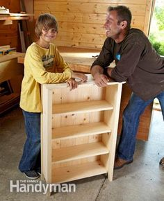 Simple Bookcase Plans: Build this simple pine bookshelf with a miter saw, biscuits—and a young helper. It's a great way to teach your son or daughter about woodworking and tool use. Read more: http://www.familyhandyman.com/woodworking/bookcase/simple-bookcase-plans/view-all