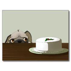 Pug con la torta del navidad, postal