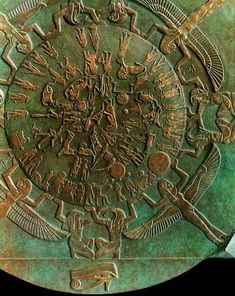 The sculptured Dendera zodiac (or Denderah zodiac) is a widely known Egyptian bas-relief from the ceiling of the pronaos of a chapel Ancient Egypt Pharaohs, Ancient Aliens, Ancient Civilizations, Ancient History, Egyptian Temple, Ancient Egyptian Art, Old Egypt, Egypt Art, Ancient Mysteries