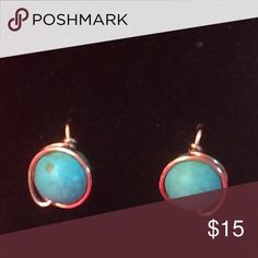 Handmade faux turquoise post earrings Handmade faux turquoise post earrings. Each earring is made with 1 faux turquoise bead wrapped in 22 gauge copper colored wire and is about .5 inches long other beads/wire colors available ✨price firm✨ Handmade Jewelry Earrings
