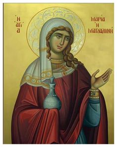 The Holy Myrrh-bearer and Equal to the Apostles Mary Magdalene. Religious Icons, Religious Art, Mary Magdalene And Jesus, Maria Magdalena, Orthodox Catholic, Roman Church, Russian Icons, Byzantine Icons, Painting Studio