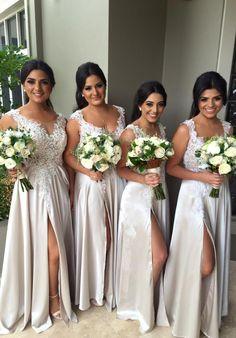 2016 Lace Appliques Bridesmaid Dresses A-Line Side Slit Wedding Party Gowns