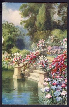 renaissance art water lower left, steps from water to right, two tiny birds fly over water Angel Aesthetic, Nature Aesthetic, Flower Aesthetic, Bel Art, Aesthetic Painting, Classical Art, Renaissance Art, Pretty Art, Pretty Pictures