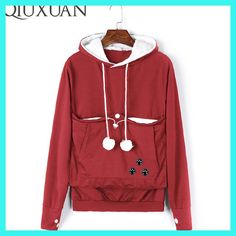 QIUXUAN Plus Size Long Sleeve Embroidery Women Big Pocket Sweatshirts With Cuddle Pouch Dog / Cat Pet Hoodies Casual Pullovers