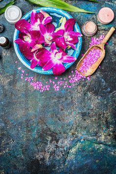 Wellness with pink orchid flowers ~ Arts & Entertainment Photos ~ Creative Market Diy Spa Day, Spa Day At Home, Pink Orchids, Orchid Flowers, Home Spa Decor, Temple Spa, Bamboo Leaves, Spa Massage, Photoshoot Inspiration