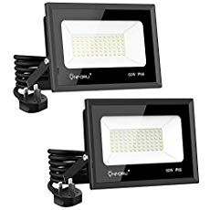 Onforu 2 Pack 60w Led Flood Lights Plug In 6500lm Super Bright Ip66 Waterproof White Wall Light 5000k Day White Wall Lights Led Flood Lights Security Lights
