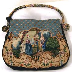 Vintage Petit Point Purse Scenes on Both Sides Stunningly Beautiful