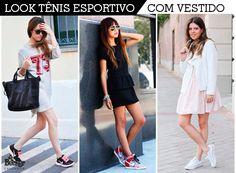 Look  tênis esportivo com vestido